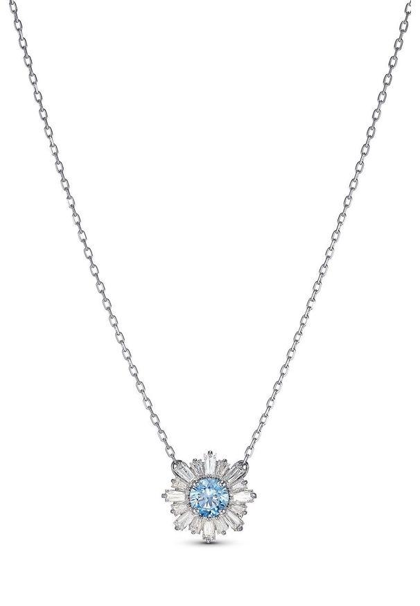 Srebrny naszyjnik Swarovski metalowy, z kryształem, z aplikacjami