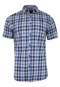Niebieska koszula casual Just Yuppi w kratkę, krótka, z krótkim rękawem, na co dzień