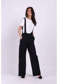 Nommo - Czarne Spodnie z Prostymi Nogawkami na Szelkach. Kolor: czarny. Materiał: wiskoza, poliester