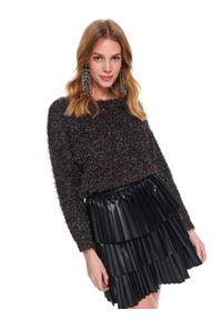 Czarny sweter TOP SECRET w kolorowe wzory, na jesień, krótki