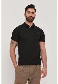 Czarna koszulka polo Trussardi Jeans krótka, klasyczna