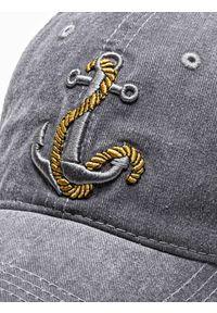 Ombre Clothing - Czapka męska z daszkiem H081 - szara - uniwersalny. Kolor: szary. Materiał: bawełna