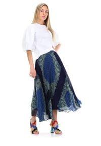 TwinSet - Długa spódnica we wzory Twinset. Kolor: niebieski. Materiał: bawełna. Długość: długie. Styl: klasyczny