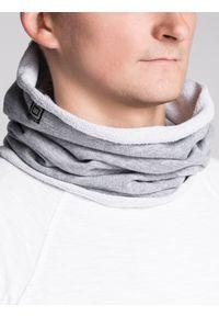 Ombre Clothing - Komin męski A063 - szary - uniwersalny. Kolor: szary. Materiał: bawełna, poliester