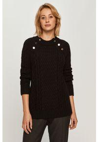 Czarny sweter Stefanel z okrągłym kołnierzem, casualowy, raglanowy rękaw
