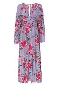 Długa sukienka bonprix kremowy bez w kwiaty. Kolor: fioletowy. Wzór: kwiaty. Styl: elegancki. Długość: maxi