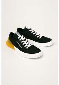 Czarne buty sportowe Calvin Klein Jeans na sznurówki, z cholewką