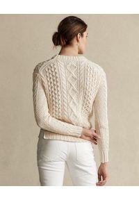 Ralph Lauren - RALPH LAUREN - Beżowy sweter. Okazja: na co dzień. Typ kołnierza: polo. Kolor: beżowy. Materiał: jeans, wełna, bawełna. Wzór: ze splotem. Sezon: wiosna. Styl: casual #6