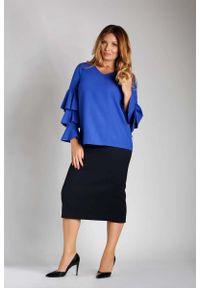 Niebieska bluzka z długim rękawem Nommo plus size, z falbankami, wizytowa