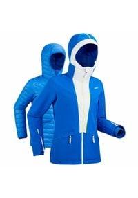 WEDZE - Kurtka narciarska 980 damska. Kolor: biały, wielokolorowy, niebieski. Materiał: materiał, puch. Sport: narciarstwo