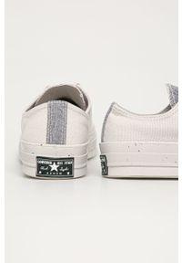 Szare tenisówki Converse na sznurówki, z okrągłym noskiem, z cholewką