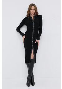Pinko - Sukienka z domieszką wełny. Kolor: czarny. Materiał: wełna. Wzór: gładki. Typ sukienki: dopasowane