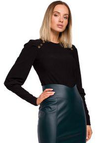 MOE - Czarna Prążkowana Bluzka z Bufiastym Rękawem. Kolor: czarny. Materiał: prążkowany