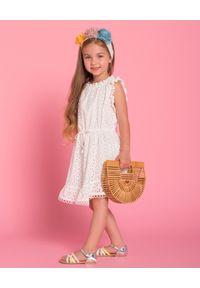 ZIMMERMANN KIDS - Sukienka z bawełny 4-10 lat. Okazja: na plażę. Kolor: biały. Materiał: bawełna. Wzór: aplikacja. Sezon: lato. Długość: midi