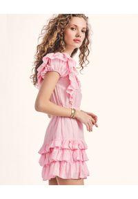 LOVE SHACK FANCY - Różowa sukienka z falbankami Ivoire. Typ kołnierza: kołnierz z falbankami. Kolor: fioletowy, różowy, wielokolorowy. Materiał: bawełna, tkanina, jedwab