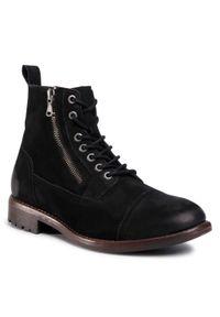 Czarne buty zimowe QUAZI z cholewką, z aplikacjami