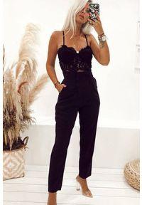 Czarne spodnie IVET z podwyższonym stanem, biznesowe, na spotkanie biznesowe