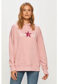Różowa bluza Converse długa, z kapturem