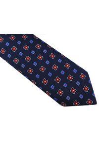 Modini - Granatowy krawat w białe i niebieskie kwiatki D44. Kolor: niebieski, biały, wielokolorowy. Materiał: tkanina, mikrofibra. Wzór: kwiaty