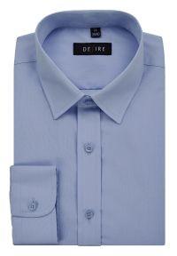 Niebieska elegancka koszula Desire z długim rękawem, długa, z klasycznym kołnierzykiem