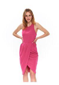 Różowa sukienka TOP SECRET koszulowa, w koronkowe wzory