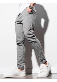 Ombre Clothing - Spodnie męskie dresowe P1004 - szary melanż - XXL. Kolor: szary. Materiał: dresówka. Wzór: melanż. Styl: klasyczny