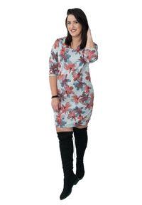 Szara sukienka dla puszystych Moda Size Plus Iwanek plus size, na zimę