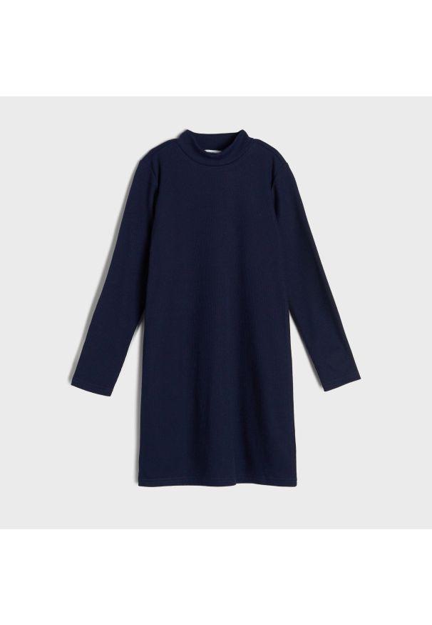 Sinsay - Sukienka z prążkowanej dzianiny - Granatowy. Kolor: niebieski. Materiał: dzianina, prążkowany