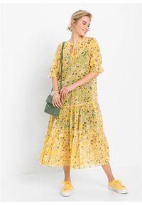 Żółta sukienka bonprix midi, w kwiaty