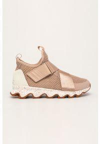 Beżowe buty sportowe sorel z cholewką, na rzepy