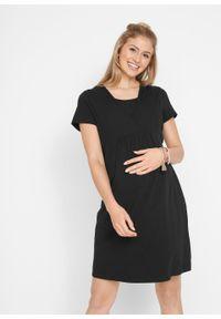 Sukienka z dżerseju dla ciężarnych i karmiących bonprix czarny. Kolekcja: moda ciążowa. Kolor: czarny. Materiał: jersey