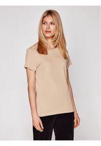 Samsoe & Samsoe - Samsøe Samsøe T-Shirt Solly Solid F00012050 Brązowy Regular Fit. Kolor: brązowy