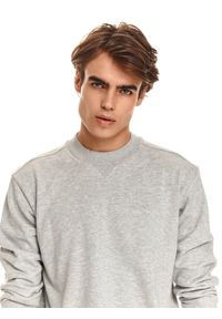 TOP SECRET - Nierozpinana gładka bluza męska. Kolor: szary. Materiał: tkanina. Długość rękawa: długi rękaw. Długość: długie. Wzór: gładki. Sezon: jesień