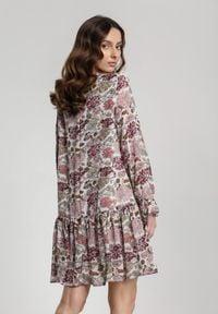 Renee - Kremowa Sukienka Nadavianna. Kolor: beżowy. Długość rękawa: długi rękaw. Wzór: kwiaty. Długość: mini