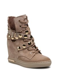 Carinii - Sneakersy CARINII - B7058 O17-000-000-B88. Kolor: beżowy. Materiał: zamsz, skóra. Szerokość cholewki: normalna. Wzór: aplikacja. Obcas: na koturnie. Wysokość obcasa: średni