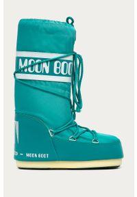 Turkusowe śniegowce Moon Boot z okrągłym noskiem, z cholewką