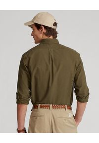 Ralph Lauren - RALPH LAUREN - Zielona koszula Oxford Custom Fit. Typ kołnierza: button down, polo. Kolor: zielony. Materiał: bawełna. Długość rękawa: długi rękaw. Długość: długie. Wzór: haft