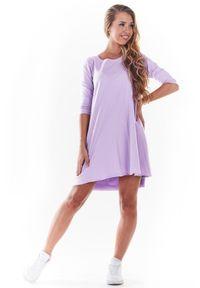 Infinite You - Dzianinowa Sukienka o Kroju Litery A - Purpurowa. Kolor: fioletowy. Materiał: dzianina