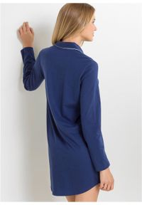 Koszula nocna z plisą guzikową bonprix ciemnoniebieski