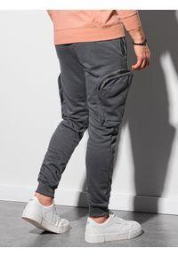Ombre Clothing - Spodnie męskie dresowe joggery P918 - grafitowe - XXL. Kolor: szary. Materiał: dresówka #4