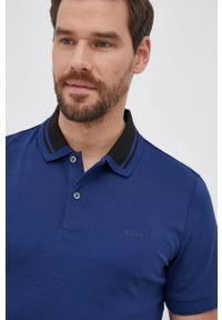 BOSS - Boss - Polo bawełniane. Typ kołnierza: polo. Kolor: niebieski. Materiał: bawełna. Długość: krótkie