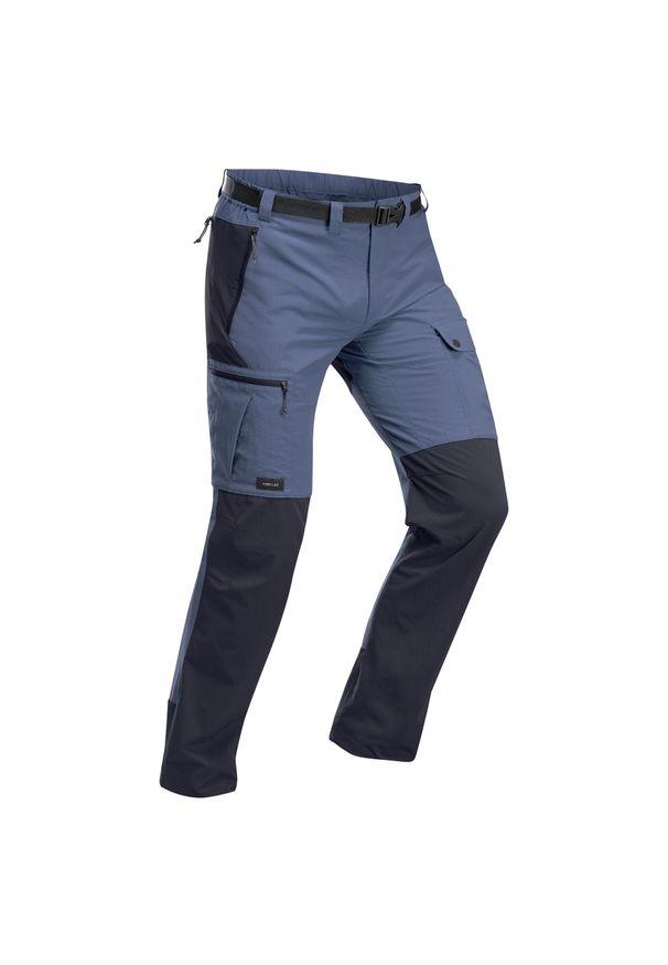 FORCLAZ - Spodnie trekkingowe - Trek 500 - męskie. Kolor: wielokolorowy, szary, niebieski. Materiał: poliamid, materiał, poliester, elastan