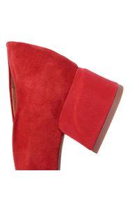 Czerwone półbuty Marco Tozzi eleganckie, z cholewką