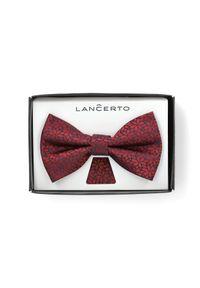 Czerwona muszka Lancerto elegancka, w geometryczne wzory