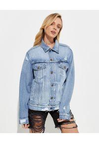 SER.O.YA - Jeansowa kurtka Ryan. Okazja: do pracy. Kolor: niebieski. Materiał: jeans. Wzór: aplikacja. Styl: elegancki, klasyczny