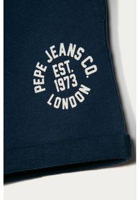 Niebieskie spodenki Pepe Jeans casualowe, na co dzień, z nadrukiem