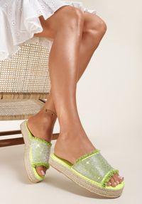 Renee - Zielone Klapki Nesishis. Kolor: zielony