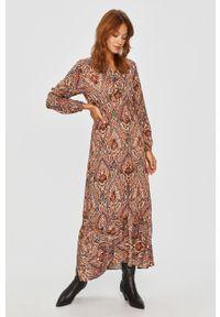 Wielokolorowa sukienka Answear Lab z długim rękawem, rozkloszowana, wakacyjna