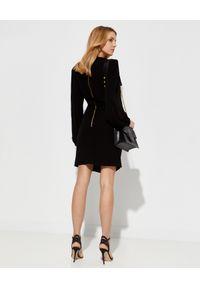 Czarna sukienka mini Balmain dopasowana, z aplikacjami