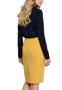 Style - Gładka spódnica ołówkowa długość w kolano. Materiał: materiał, elastan. Wzór: gładki
